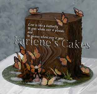 Tree stump with butterfles