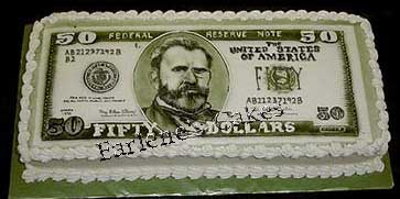 50 dollar bill in cake