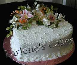 Heart Cake with gumpaste flowers 2