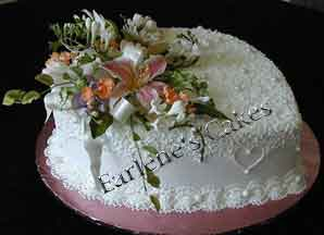 Heart cake with gumpaste flowers 1